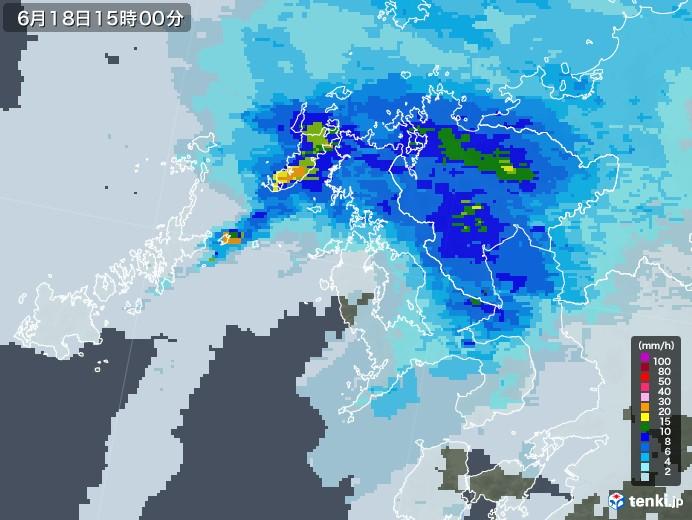 長崎県の雨雲レーダー(2021年06月18日)