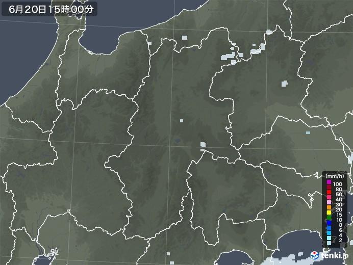 長野県の雨雲レーダー(2021年06月20日)