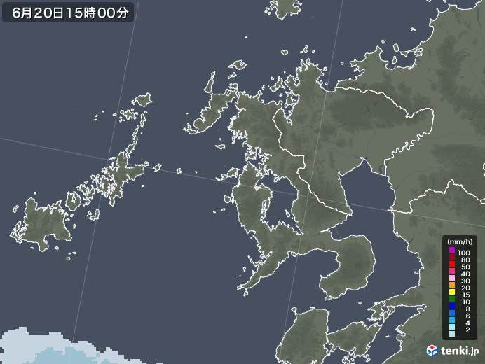 長崎県の雨雲レーダー(2021年06月20日)