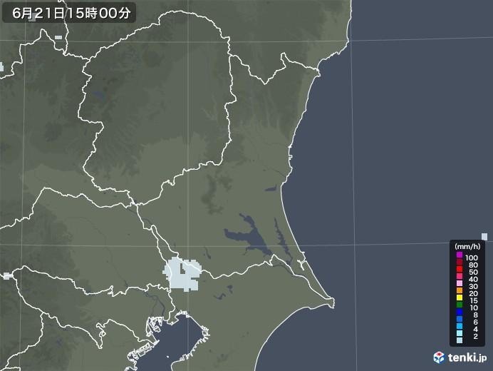 茨城県の雨雲レーダー(2021年06月21日)