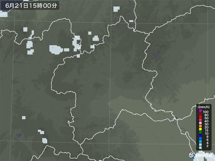 群馬県の雨雲レーダー(2021年06月21日)
