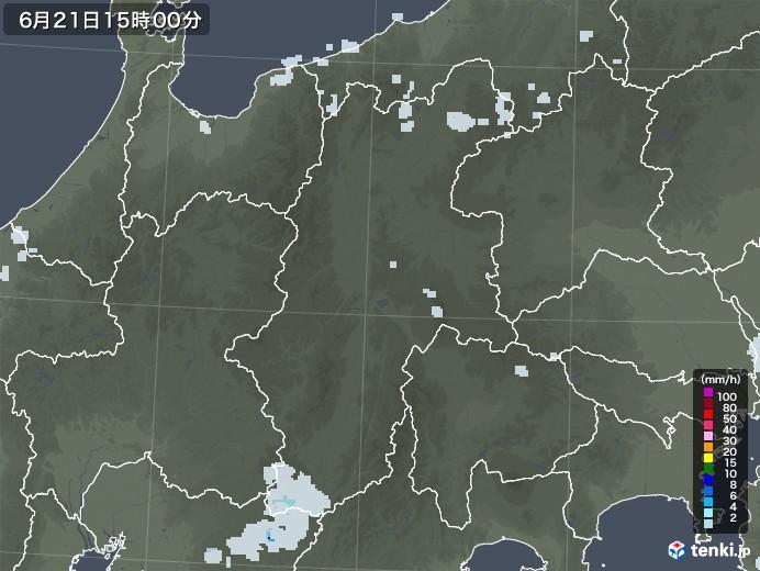 長野県の雨雲レーダー(2021年06月21日)