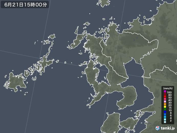 長崎県の雨雲レーダー(2021年06月21日)