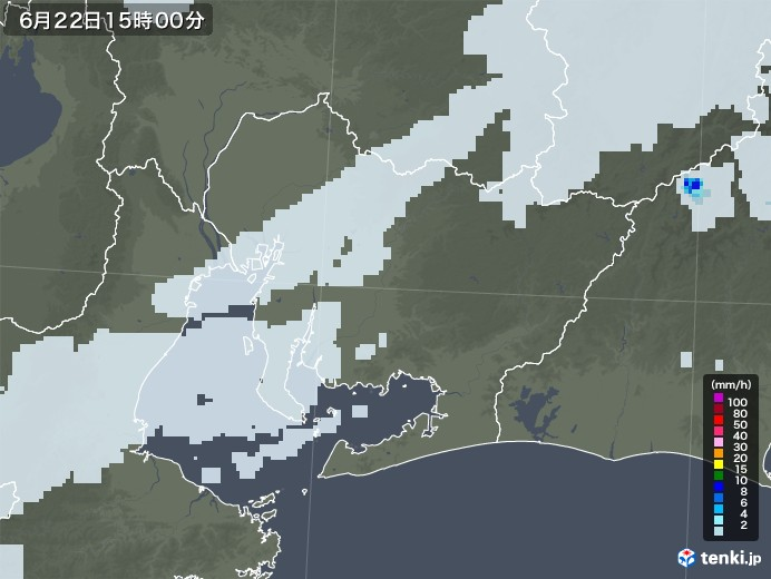 愛知県の雨雲レーダー(2021年06月22日)