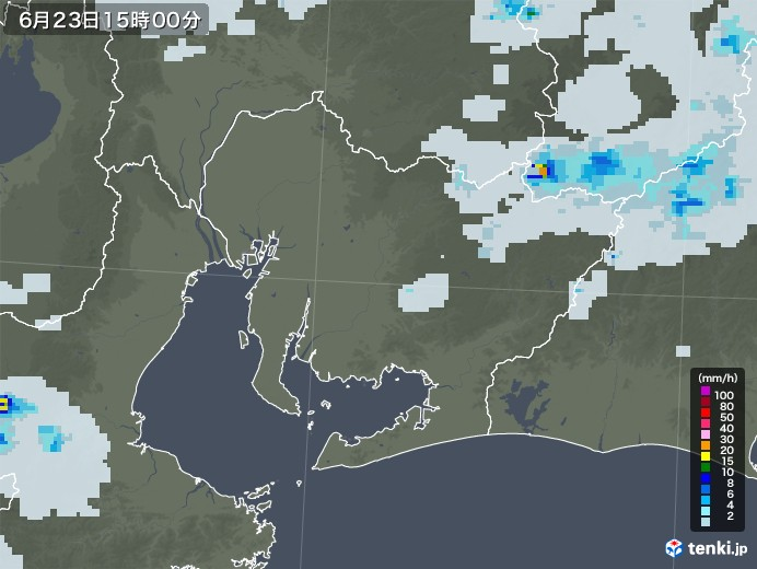 愛知県の雨雲レーダー(2021年06月23日)