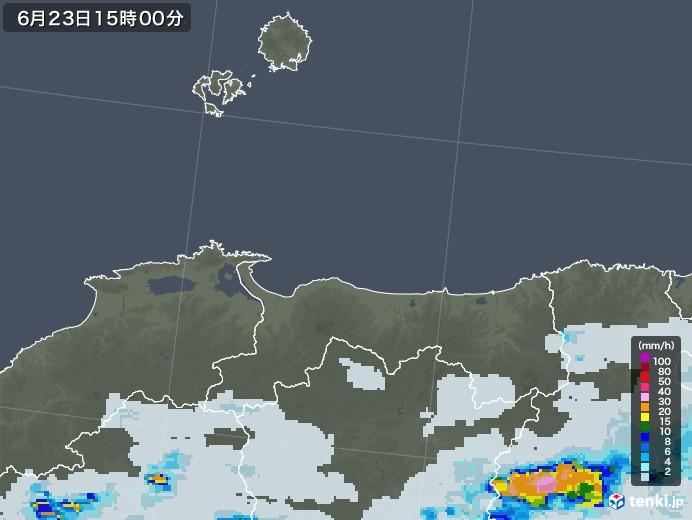 鳥取県の雨雲レーダー(2021年06月23日)