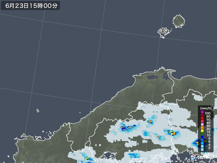 島根県の雨雲レーダー(2021年06月23日)