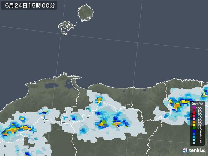 鳥取県の雨雲レーダー(2021年06月24日)