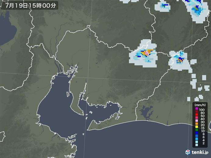 愛知県の雨雲レーダー(2021年07月19日)
