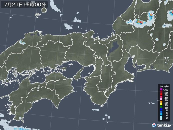 近畿地方の雨雲レーダー(2021年07月21日)