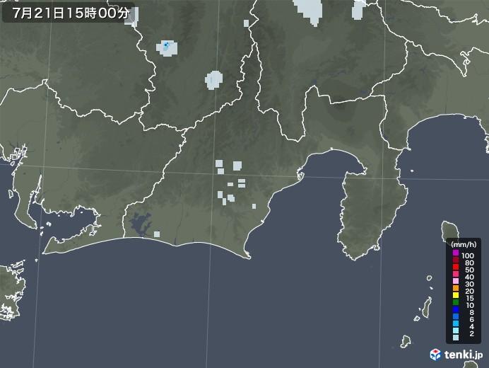 静岡県の雨雲レーダー(2021年07月21日)