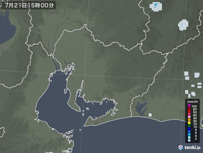 愛知県の雨雲レーダー(2021年07月21日)
