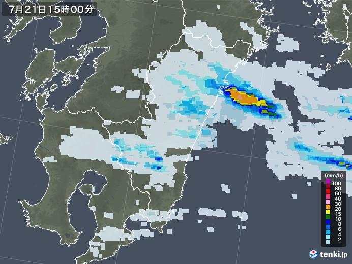 宮崎県の雨雲レーダー(2021年07月21日)