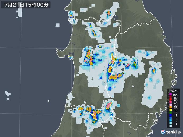 秋田県の雨雲レーダー(2021年07月21日)