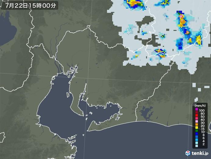 愛知県の雨雲レーダー(2021年07月22日)