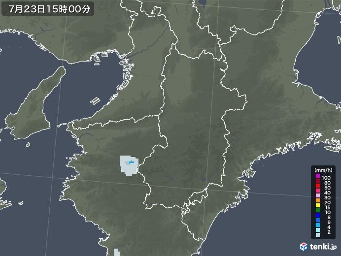 奈良県の雨雲レーダー(2021年07月23日)