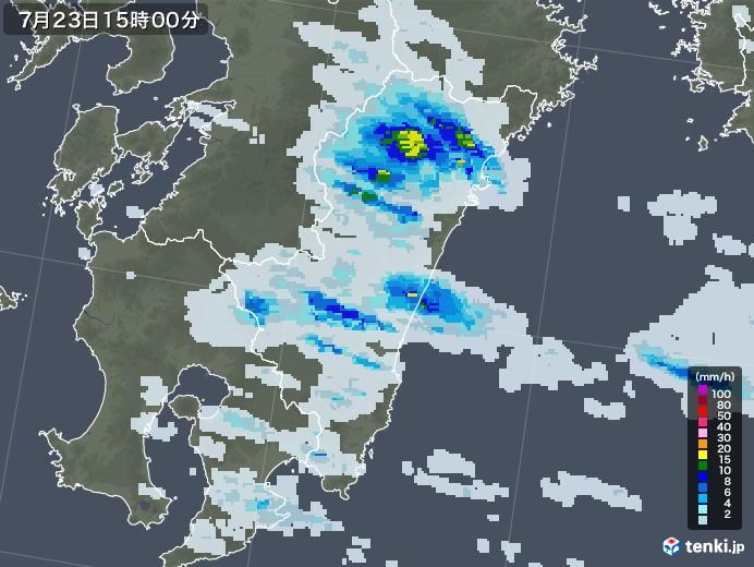 宮崎県の雨雲レーダー(2021年07月23日)