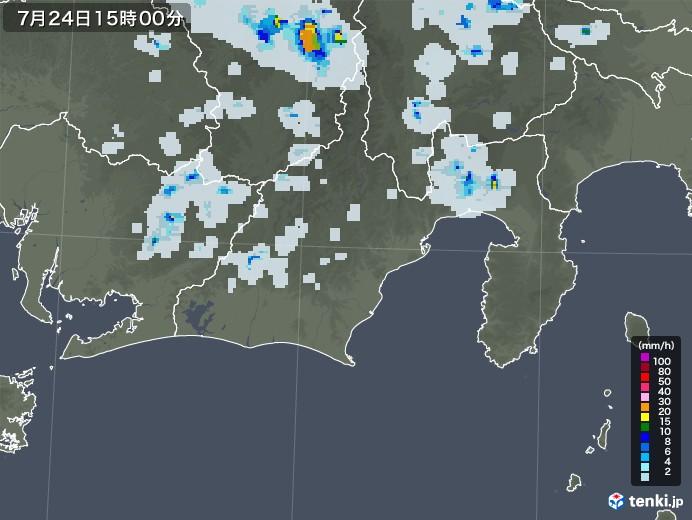 静岡県の雨雲レーダー(2021年07月24日)