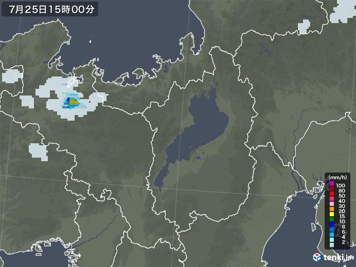 滋賀県の雨雲レーダー(2021年07月25日)