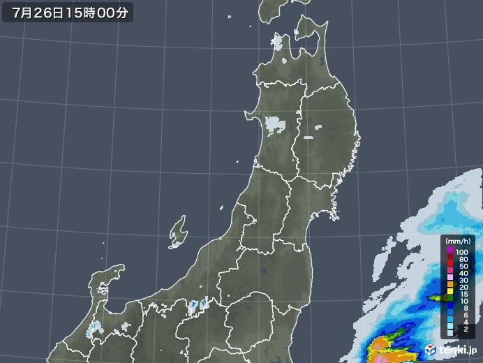 東北地方の雨雲レーダー(2021年07月26日)