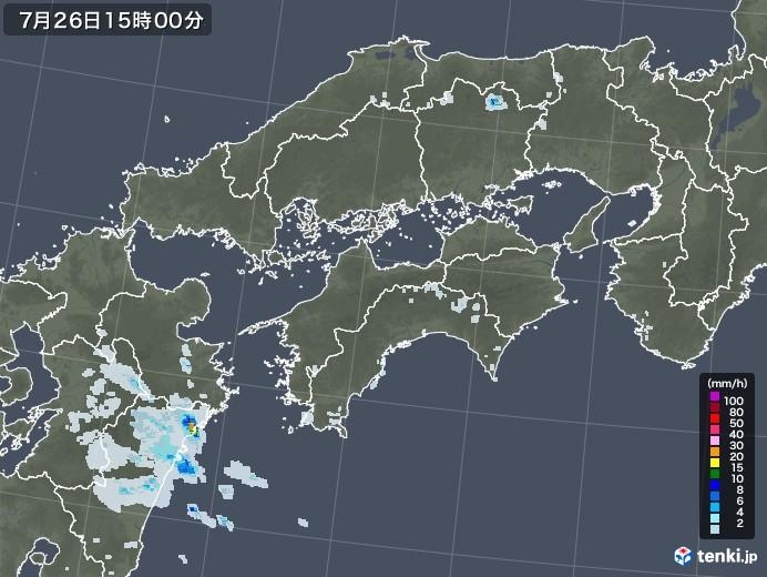 四国地方の雨雲レーダー(2021年07月26日)