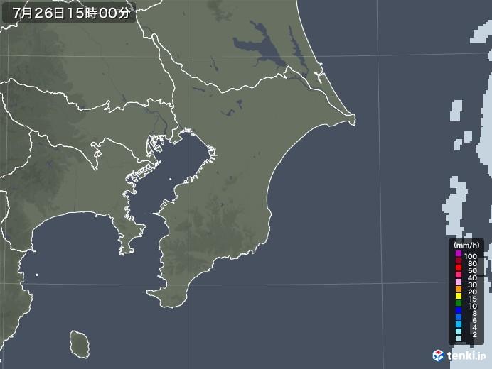 千葉県の雨雲レーダー(2021年07月26日)