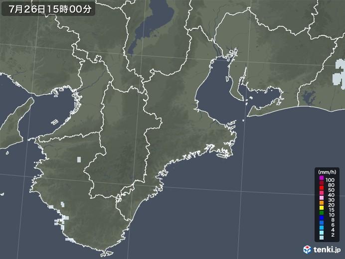 三重県の雨雲レーダー(2021年07月26日)