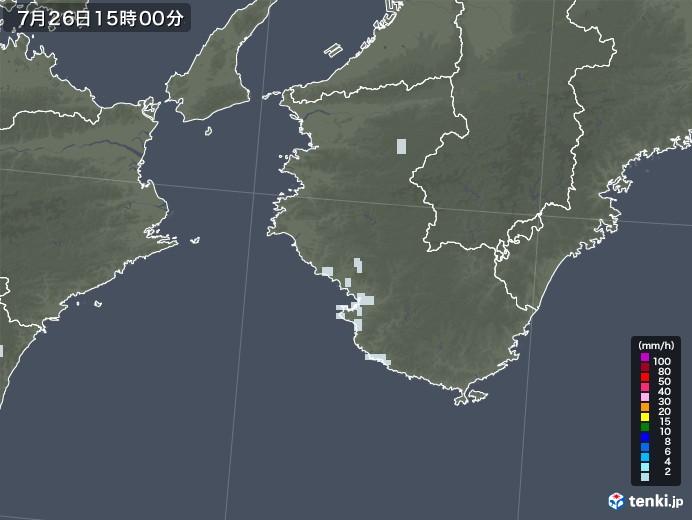 和歌山県の雨雲レーダー(2021年07月26日)