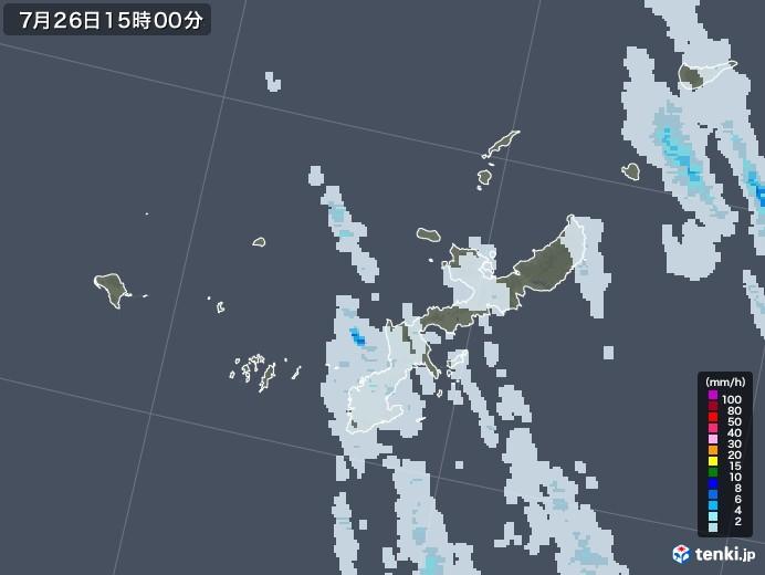 沖縄県の雨雲レーダー(2021年07月26日)