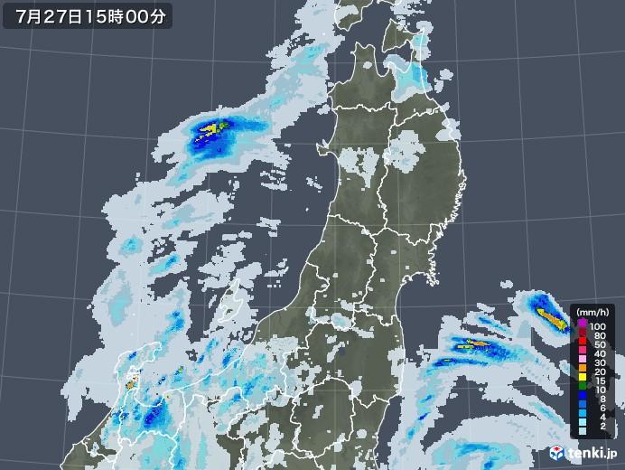 東北地方の雨雲レーダー(2021年07月27日)