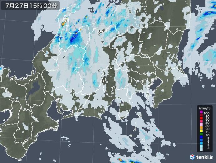 関東・甲信地方の雨雲レーダー(2021年07月27日)