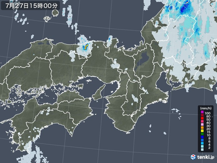 近畿地方の雨雲レーダー(2021年07月27日)
