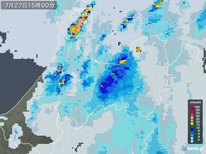 富山県の雨雲レーダー(2021年07月27日)