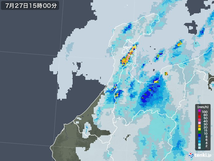 石川県の雨雲レーダー(2021年07月27日)
