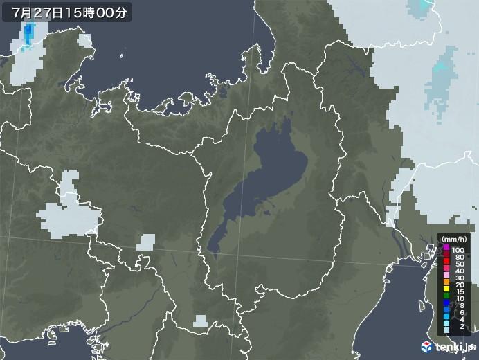 滋賀県の雨雲レーダー(2021年07月27日)