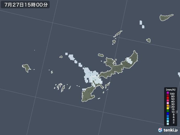 沖縄県の雨雲レーダー(2021年07月27日)