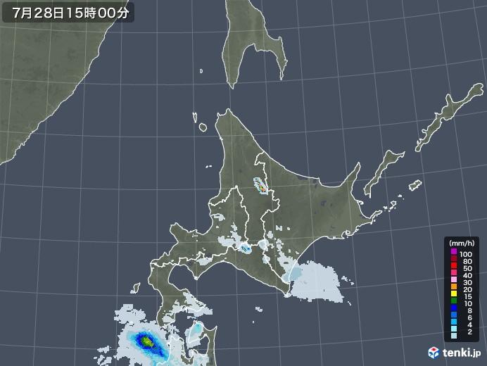 北海道地方の雨雲レーダー(2021年07月28日)
