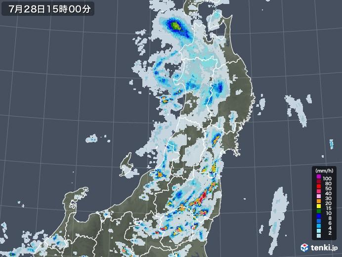東北地方の雨雲レーダー(2021年07月28日)