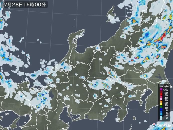 北陸地方の雨雲レーダー(2021年07月28日)