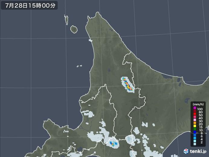 道北の雨雲レーダー(2021年07月28日)