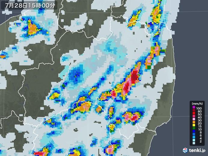 福島県の雨雲レーダー(2021年07月28日)
