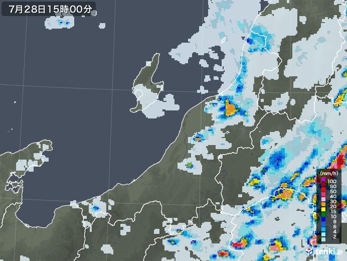 新潟県の雨雲レーダー(2021年07月28日)
