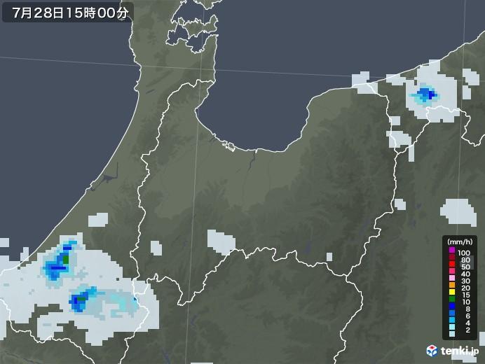 富山県の雨雲レーダー(2021年07月28日)
