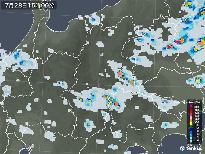 長野県の雨雲レーダー(2021年07月28日)