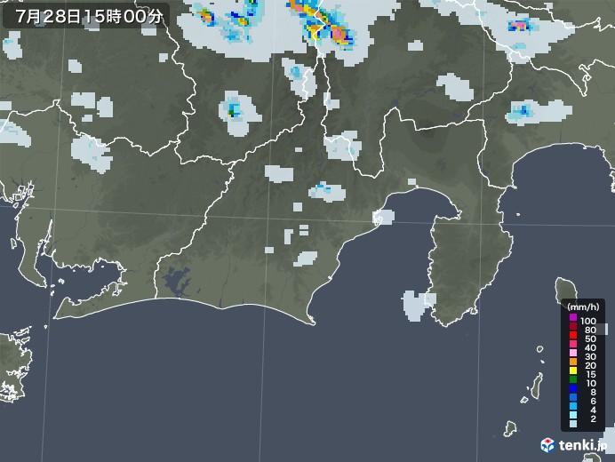 静岡県の雨雲レーダー(2021年07月28日)