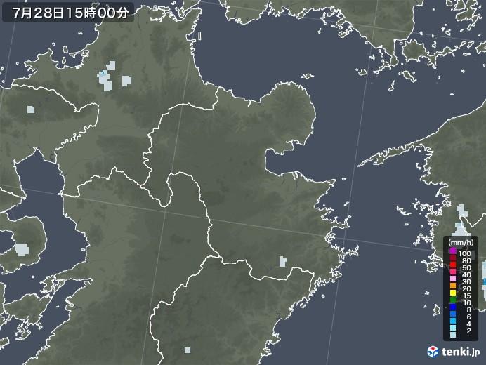 大分県の雨雲レーダー(2021年07月28日)