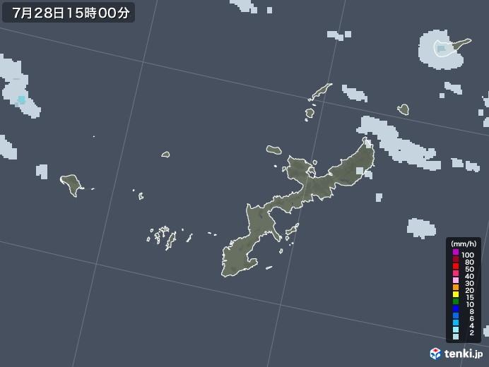 沖縄県の雨雲レーダー(2021年07月28日)