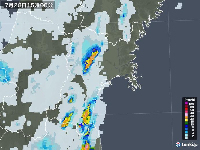 宮城県の雨雲レーダー(2021年07月28日)