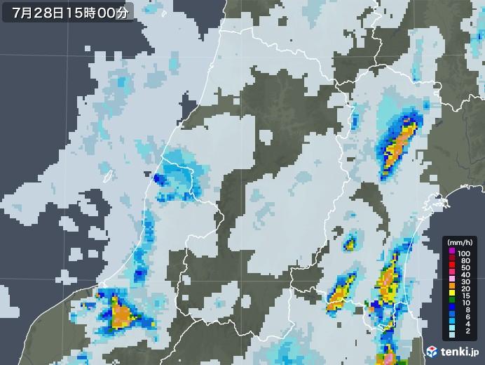 山形県の雨雲レーダー(2021年07月28日)