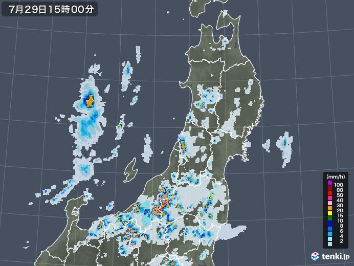 東北地方の雨雲レーダー(2021年07月29日)